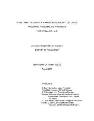 Primary view of object titled 'Public safety curricula in American community colleges: Programs, problems, and prospects.'.