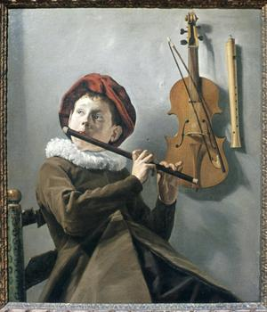 Primary view of object titled 'Young Boy Playing Flute'.