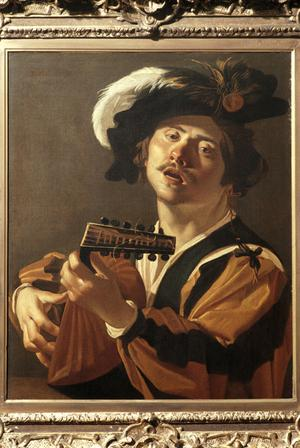 Primary view of object titled 'A Lute Player Singing'.