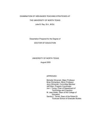 Primary view of object titled 'Examination of Web-based teaching strategies at the University of North Texas.'.