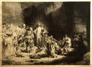 Primary view of Christ with sick around him, receiving little children (The 'Hundred Guilder Print')