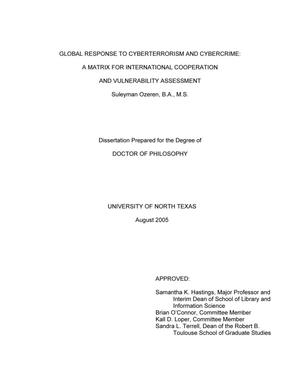Primary view of object titled 'Global response to cyberterrorism and cybercrime: A matrix for international cooperation and vulnerability assessment.'.