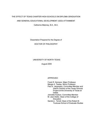 Primary view of object titled 'The Effect of Texas Charter High Schools on Diploma Graduation and General Educational Development (Ged) Attainment'.