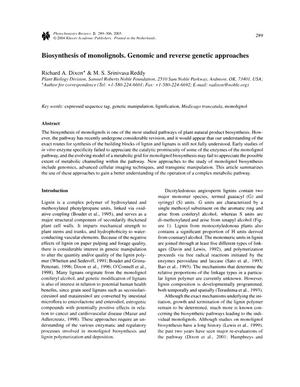 Primary view of object titled 'Biosynthesis of monolignols. Genomic and reverse genetic approaches'.