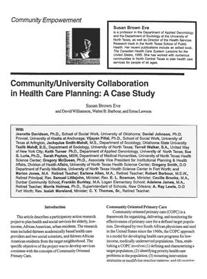Primary view of object titled 'Community/University Collaboration in Health Care Planning: A Case Study'.