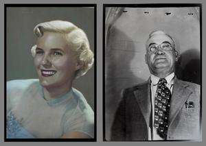 [Hand tinted portrait of woman & Unknown man in a suit]