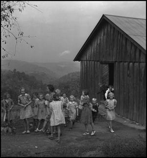 Primary view of object titled '[Students exiting the Locust Grove School]'.