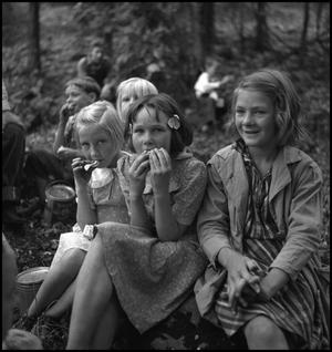 Primary view of object titled '[Young girls eating lunch(1)]'.
