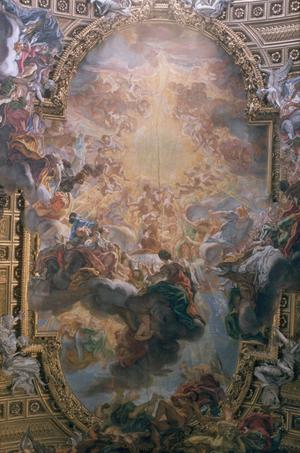 Primary view of Triumph of the Name of Jesus. Vault Fresco.  Il Gesu
