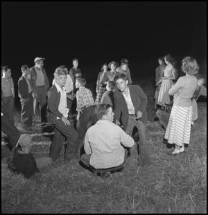 Primary view of object titled '[Young adults at the stir-off]'.