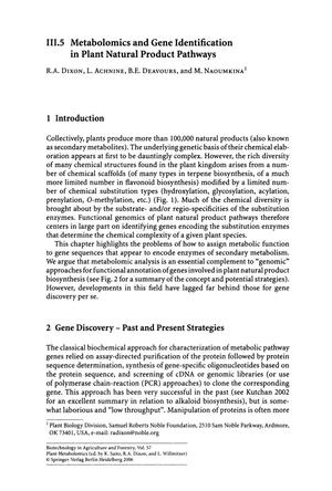 Primary view of object titled 'Metabolomics and Gene Identification in Plant Natural Product Pathways'.