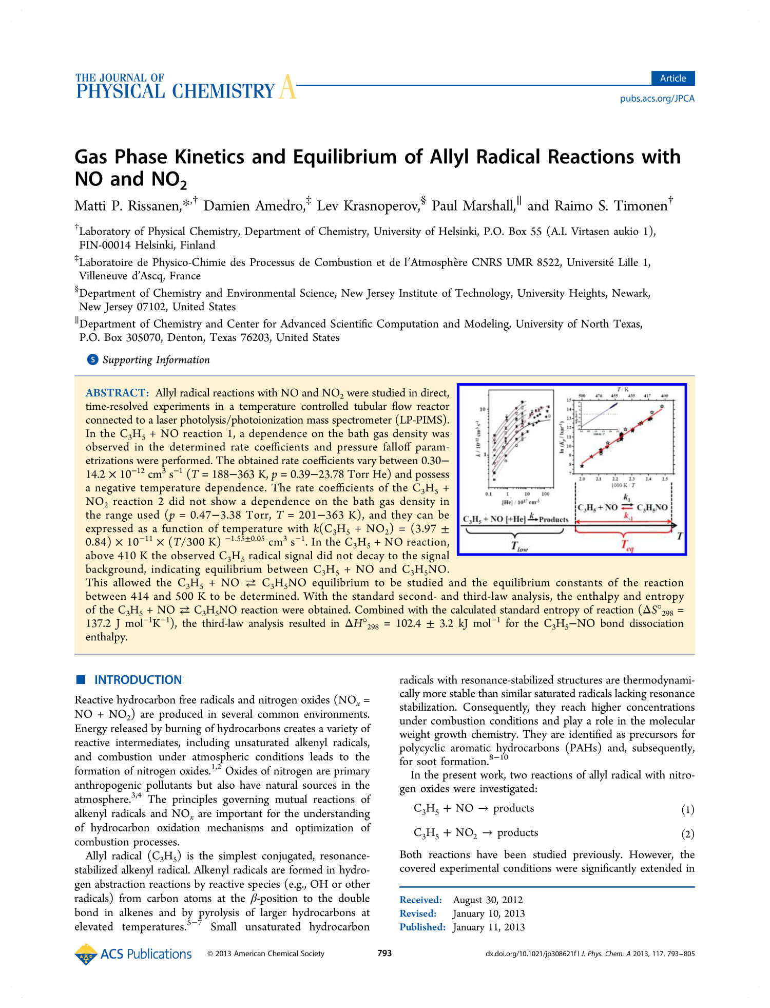 Gas Phase Kinetics and Equilibrium of Allyl Radical Reactions with NO and NO₂                                                                                                      793