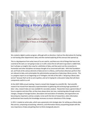 Primary view of object titled 'Designing a library data service'.