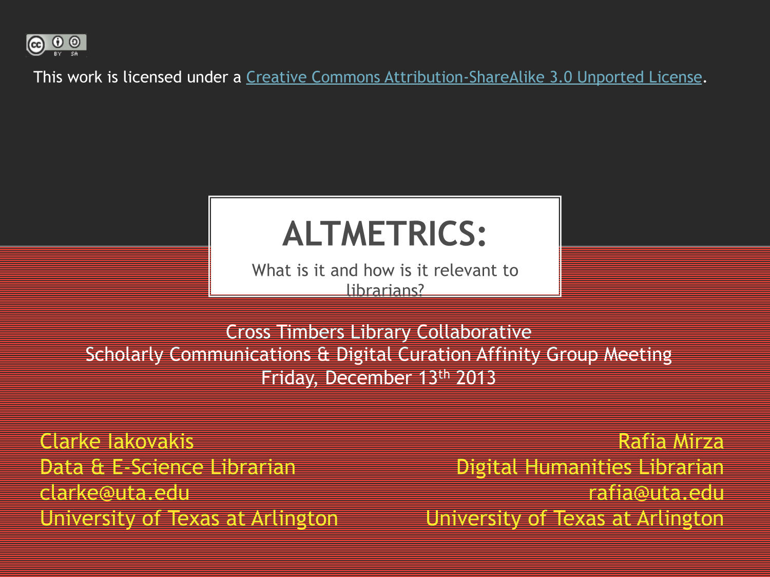 Altmetrics: What is it and how is it relevant to librarians?                                                                                                      [Sequence #]: 1 of 19
