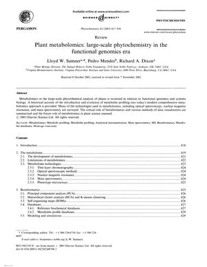 Primary view of object titled 'Plant metabolomics: large-scale phytochemistry in the functional genomics era'.