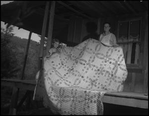 Primary view of object titled '[Aunt Joanna Wright with quilt]'.
