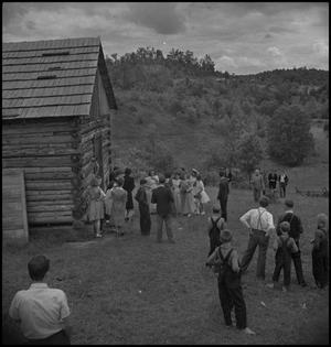 Primary view of object titled '[Guests arriving at the church]'.