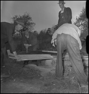 Primary view of object titled '[Mountain Funeral: Cutting Wood]'.