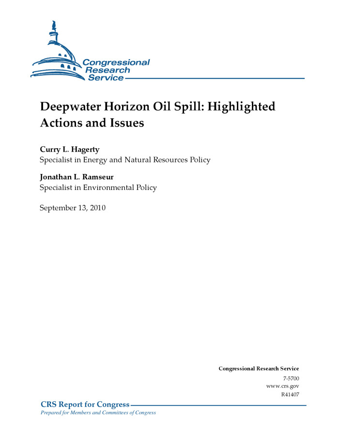 Deepwater Horizon Oil Spill: Highlighted Actions and Issues