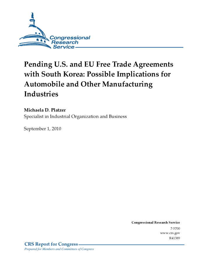 Pending Us And Eu Free Trade Agreements With South Korea Possible