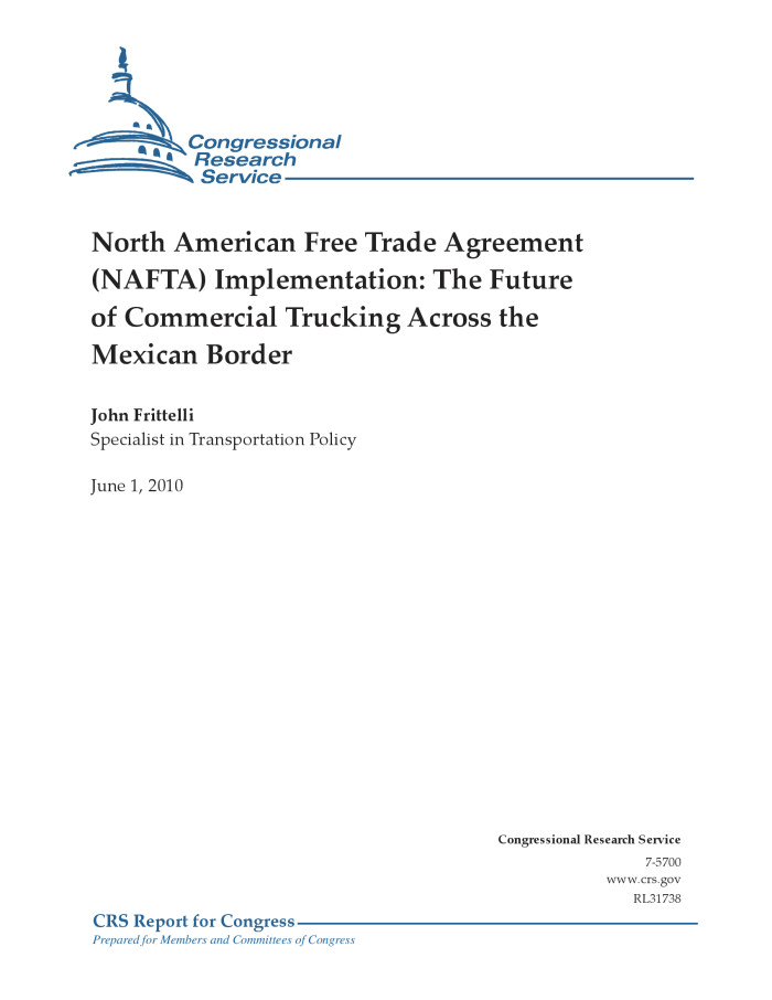 North American Free Trade Agreement Nafta Implementation The