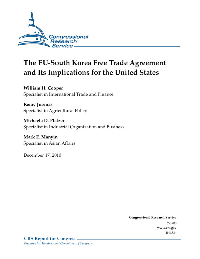 The Eu South Korea Free Trade Agreement And Its Implications For The
