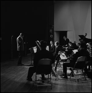 Primary view of object titled '[Lab band getting ready to play]'.
