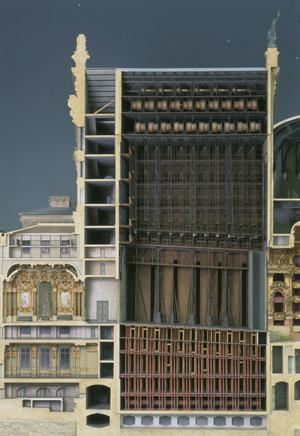 Primary view of object titled 'Model: Longitudinal Section of the Opera (1:100 scale)'.