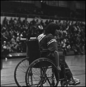 Primary view of object titled '[Wheelchair basketball player]'.