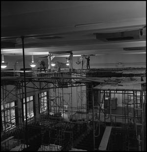 Primary view of object titled '[Workmen in the Auditorium, Auditorium Building, ca. 1961.]'.