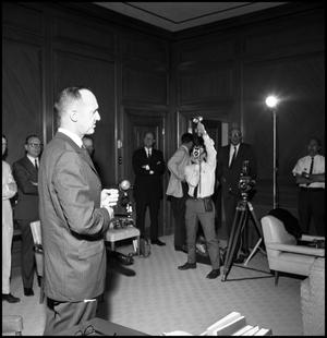 Primary view of object titled '[Press conference naming Dr. John J. Kamerick President of North Texas State University, May 8, 1968]'.