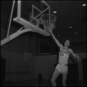 Primary view of object titled '[North Texas basketball tossing up a basketball, 2]'.
