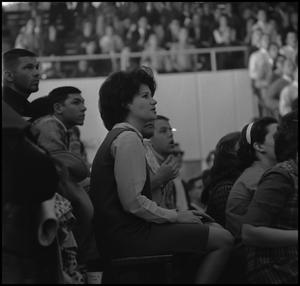 Primary view of object titled '[Spectators at a men's basketball game]'.