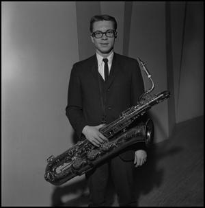 Primary view of object titled '[Lab band saxophone player]'.