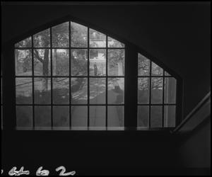 Primary view of object titled '[View through the 2nd floor landing window of the Auditorium Building main staircase]'.