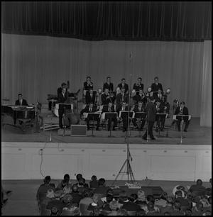 Primary view of object titled '[One O'Clock Lab Band performing in auditorium]'.