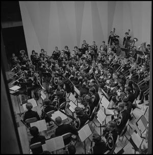Primary view of object titled '[North Texas concert band on stage]'.