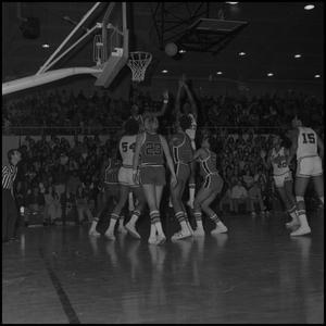 Primary view of object titled '[NTSU Eagles vs Louisville Basketball Game]'.