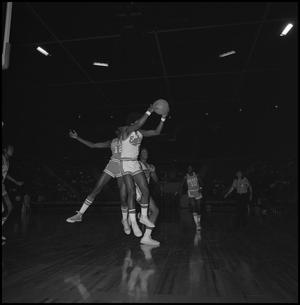 Primary view of object titled '[College Basketball Game in the Coliseum Eagles vs Drake]'.