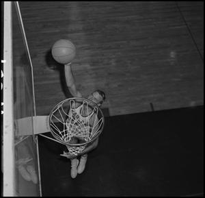Primary view of object titled '[NTSU Basketball Player Mike Long, 3]'.