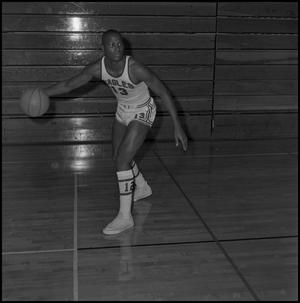 Primary view of object titled '[Dwight Lowery with a basketball]'.