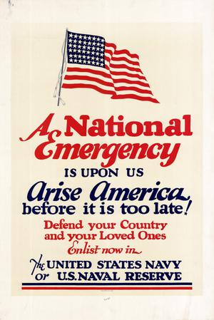 Primary view of object titled 'A national emergency is upon us : arise America before it is too late! Defend your country and your loved ones ....'.