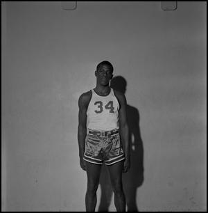 Primary view of object titled '[North Texas Basketball Player No. 34 Alfred Nickleberry]'.