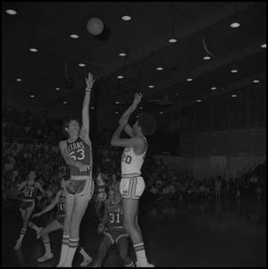 Primary view of object titled '[NTSU Eagles Against Fullerton Titans Basketball Game]'.