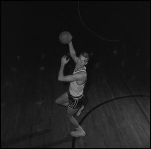 Primary view of object titled '[David Ebershoff with a basketball]'.