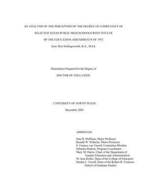 An Analysis of the Perception of the Degree of Compliance of Selected Texas Public High Schools with Title IX of the Education Amendments of 1972