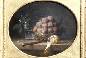 Primary view of object titled 'Still Life with Plums and a Lemon'.