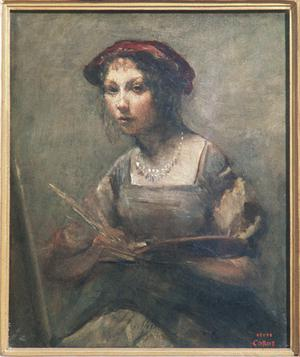 Young Woman Artist with a Palette in Her Hand