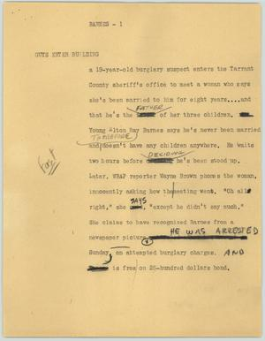 Primary view of object titled '[News Script: Barnes]'.