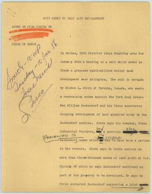 Primary view of object titled '[News Script: Suit Seeks to Halt Land Development]'.